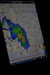 Radarová situace zobrazená na iPadu 2 vaplikaci Meteoradar - autor: Jan Drahokoupil