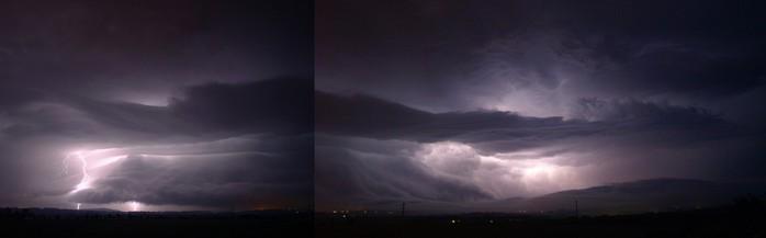 Shelf cloud bouře osvícený blesky - autor: