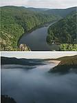 Údolí Vltavy před a po zatopením mlhou - autor: