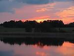 Západ slunce nad rybníkem Budař - autor: